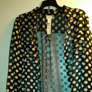Sheer Chico's dressy blouse pretty black with gold